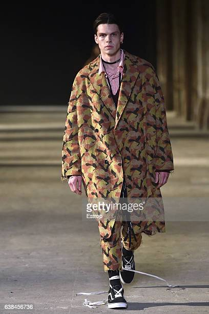 A model walks the runway at Sulvam Show during Pitti Uomo 91 on January 12 2017 in Florence Italy
