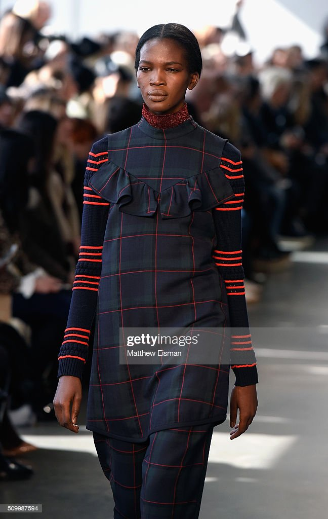 A model walks the runway at Suno F/W 2016 with Kerastase Paris at Pier 59 on February 13, 2016 in New York City.