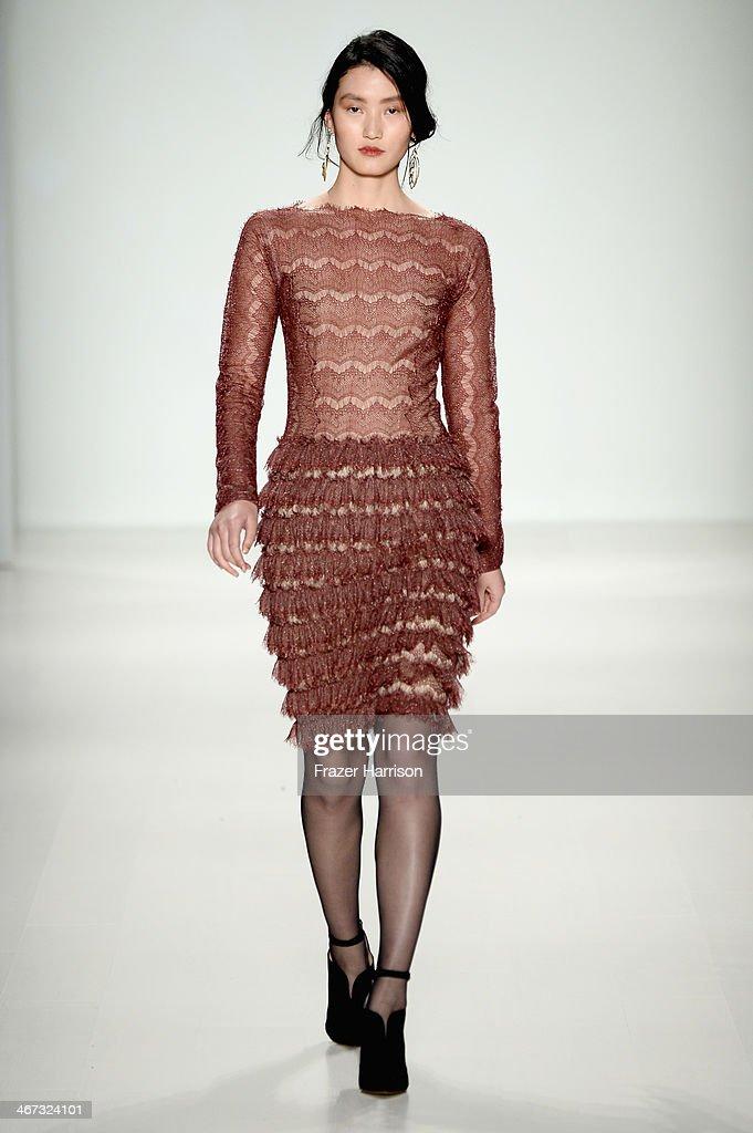 Model walks the runway at tadashi shoji fashion show during mercedes