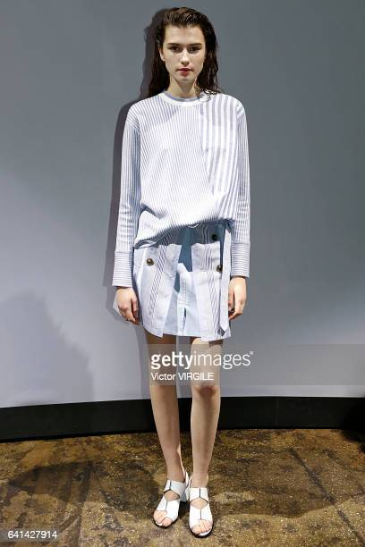 A model walks the runway at Thakoon fashion show during New York Fashion Week Fall Winter 20172018 on February 9 2017 in New York City