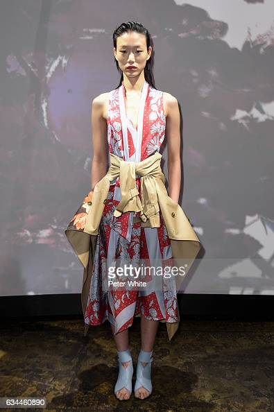 A model walks the runway at Thakoon show during New York Fashion Week at Cedar Lake on February 9 2017 in New York City