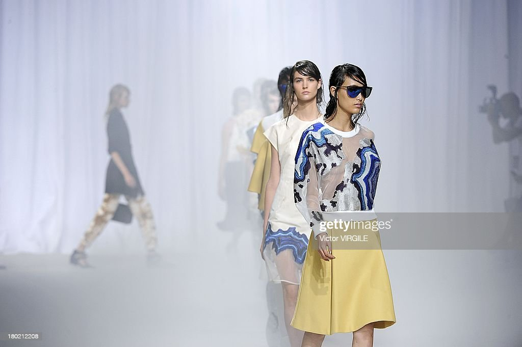 A model walks the runway at the 3.1 Phillip Lim Ready to Wear fashion show during Mercedes-Benz Fashion Week Spring Summer 2014 on September 9, 2013 in New York City.