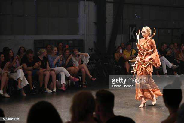 A model walks the runway at the 3D Fashion Presented By Lexus/Voxelworld show during Platform Fashion July 2017 at Areal Boehler on July 22 2017 in...