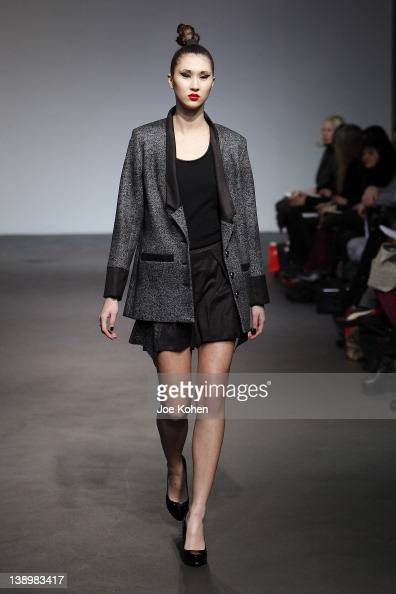 A model walks the runway at the 4 Corners of a Circle fall 2012 fashion show during MercedesBenz Fashion Week at the Audi Forum on February 14 2012...