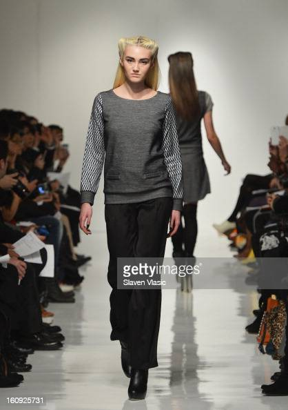 A model walks the runway at the 4 Corners of a Circle fall 2013 fashion show during MercedesBenz Fashion Week at Metropolitan Pavilion on February 7...