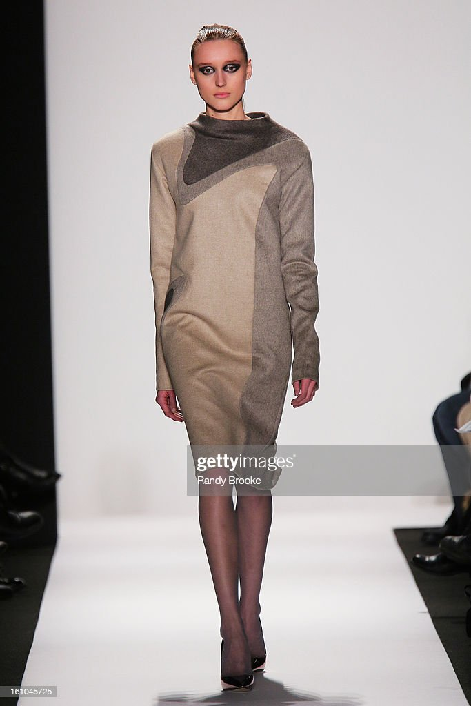 A model walks the runway at the Academy of Art University Fall 2013 fashion show during Mercedes-Benz Fashion Week Fall 2013 - Official Coverage - Best of Runway Day 2 at Lincoln Center on February 8, 2013 in New York City.