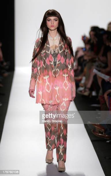 A model walks the runway at the Academy of Art University Spring 2014 Collections fashion show during MercedesBenz Fashion Week at Lincoln Center on...