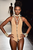 A model walks the runway at the Accessories Premier runway show featuring Tsion Rocks collection during MercedesBenz Fashion Week Fall 2015 on...