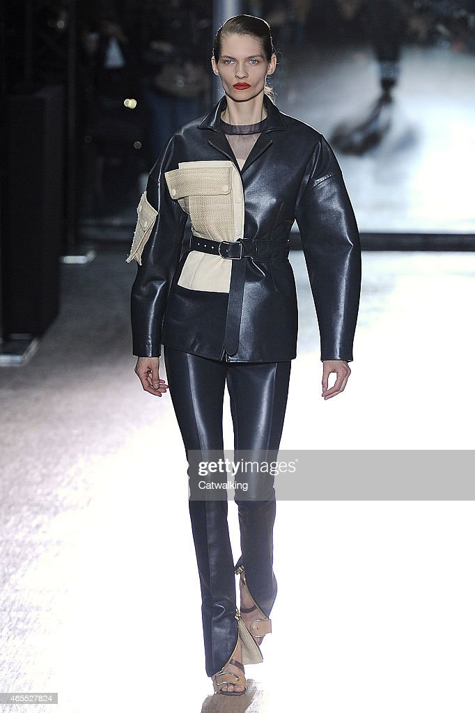 A model walks the runway at the Acne Studios Autumn Winter 2015 fashion show during Paris Fashion Week on March 7 2015 in Paris France