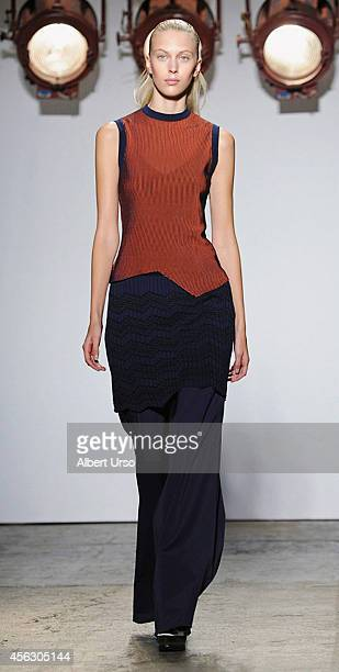 A model walks the runway at the Adeam fashion show during MercedesBenz Fashion Week Spring 2015 at Highline Stages on September 8 2014 in New York...