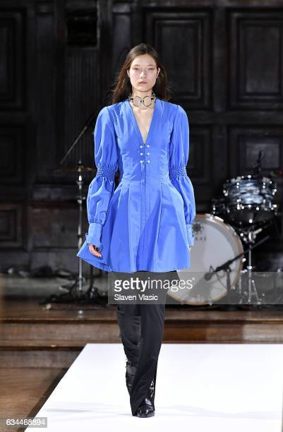 Model walks the runway at the Adeam fashion show during New York Fahion Week at The High Line Hotel on February 9 2017 in New York City