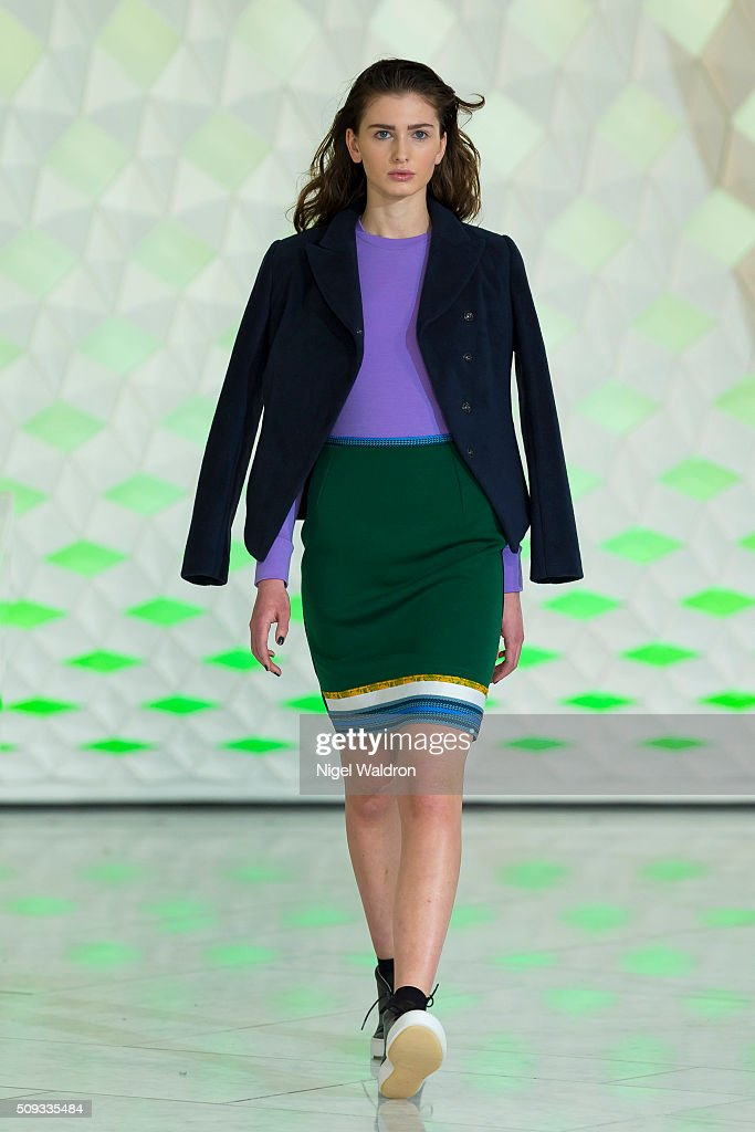 A model walks the runway at the Admir Batlak show during the Fashion Week Oslo Autumn/Winter 2016/2017 at the F5 Showcase Oslo on February 10, 2016 in Oslo, Norway.