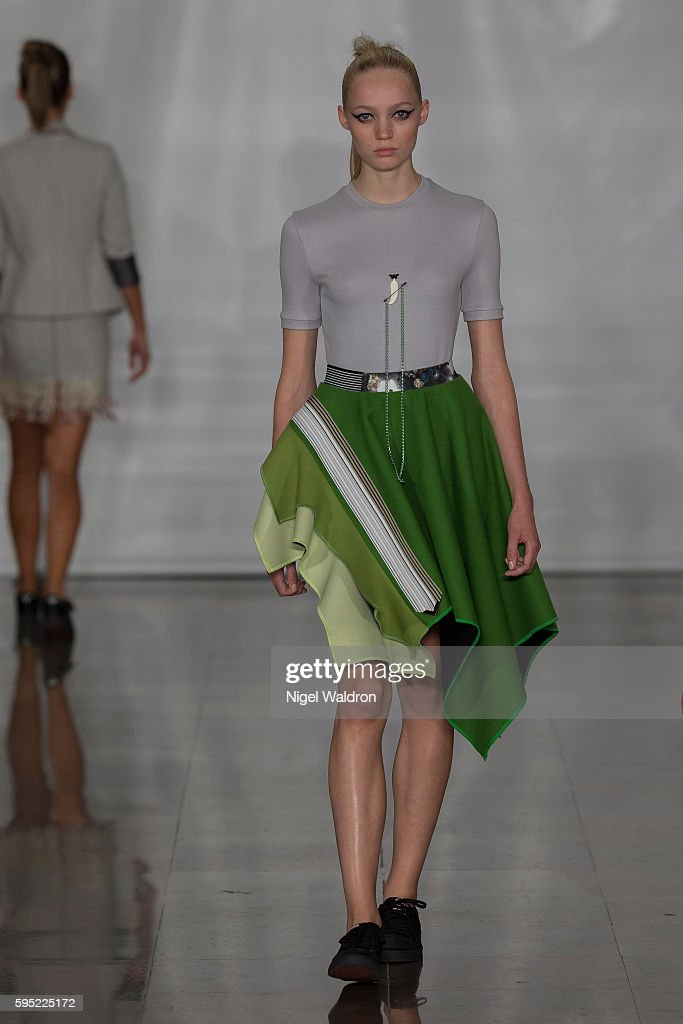A model walks the runway at the Admir Batlak show during the Fashion Week Oslo Spring/Summer 2017 at the Sentralen on August 25 2016 in Oslo Norway