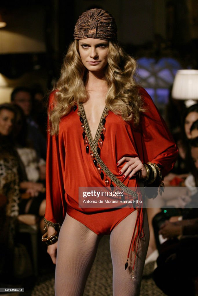 A model walks the runway at the Adriana Degreas fashion show at Antiquario Jorge Elias on March 29 2012 in Sao Paulo Brazil