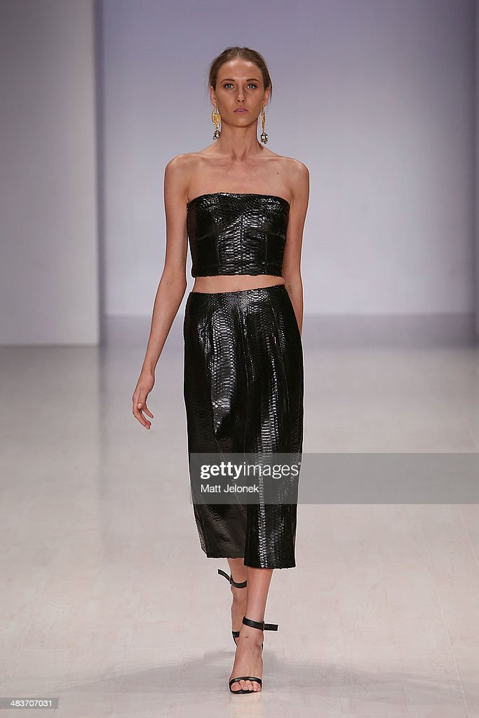A model walks the runway at the Ae'lkmei show at Mercedes-Benz Fashion Week Australia 2014 at on April 10, 2014 in Sydney, Australia.