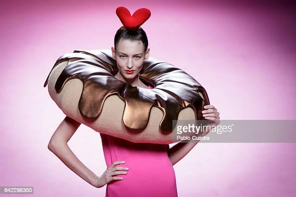 A model walks the runway at the Agatha Ruiz de La Prada show during the MercedesBenz Madrid Fashion Week Autumn/Winter 2017 at Ifema on February 17...