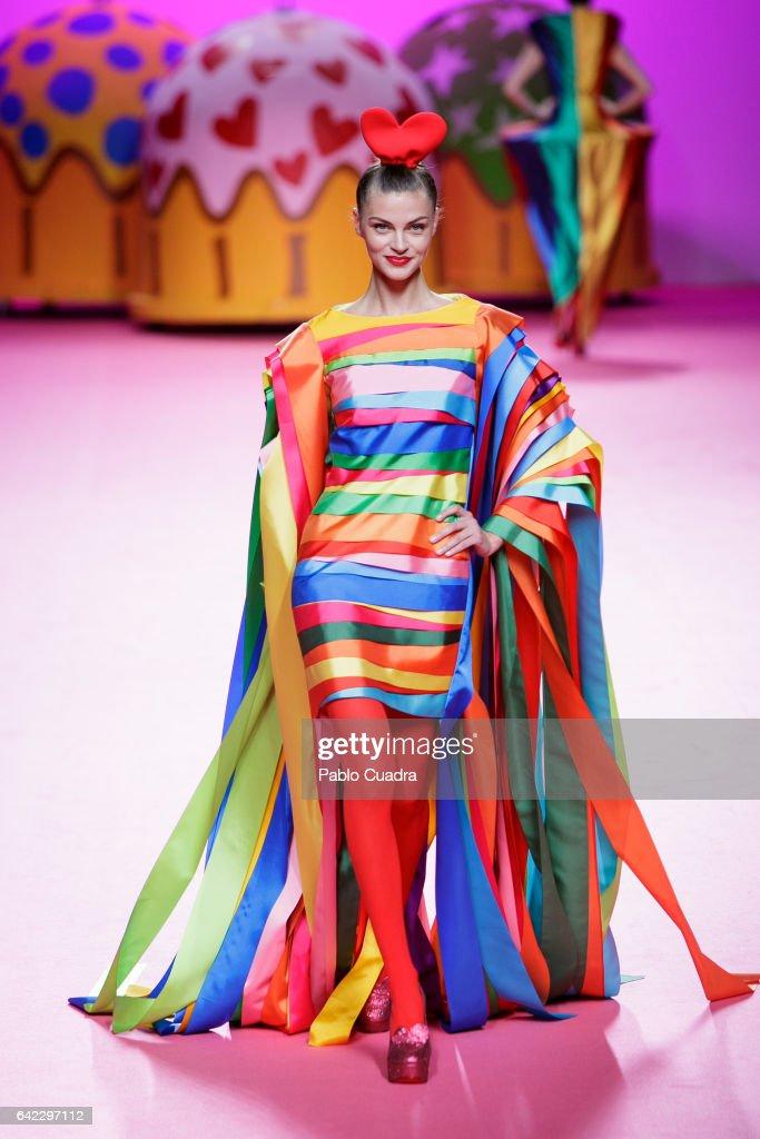 A model walks the runway at the Agatha Ruiz de La Prada show during the Mercedes-Benz Madrid Fashion Week Autumn/Winter 2017 at Ifema on February 17, 2017 in Madrid, Spain.