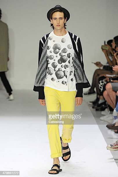 A model walks the runway at the Agnes B Spring Summer 2016 fashion show during Paris Menswear Fashion Week on June 28 2015 in Paris France