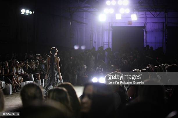 A model walks the runway at the Aje show at MercedesBenz Fashion Week Australia 2015 at Carriageworks on April 13 2015 in Sydney Australia