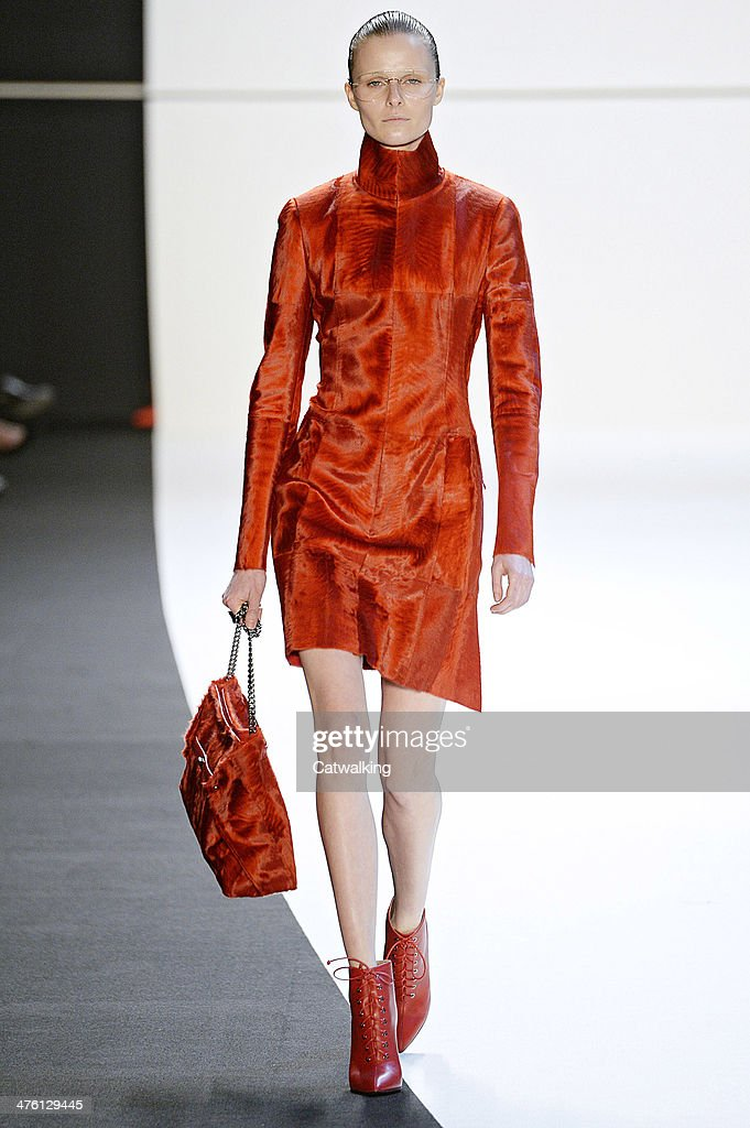A model walks the runway at the Akris Autumn Winter 2014 fashion show during Paris Fashion Week on March 2, 2014 in Paris, France.