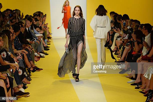 A model walks the runway at the Akris Spring Summer 2017 fashion show during New York Fashion Week on September 9 2016 in New York United States