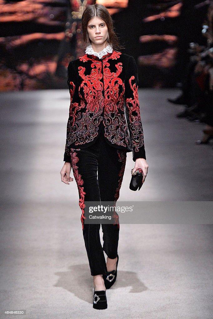 A model walks the runway at the Alberta Ferretti Autumn Winter 2015 fashion show during Milan Fashion Week on February 25 2015 in Milan Italy