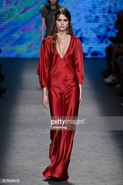 A model walks the runway at the Alberta Ferretti Autumn Winter 2016 fashion show during Milan Fashion Week on February 24 2016 in Milan Italy