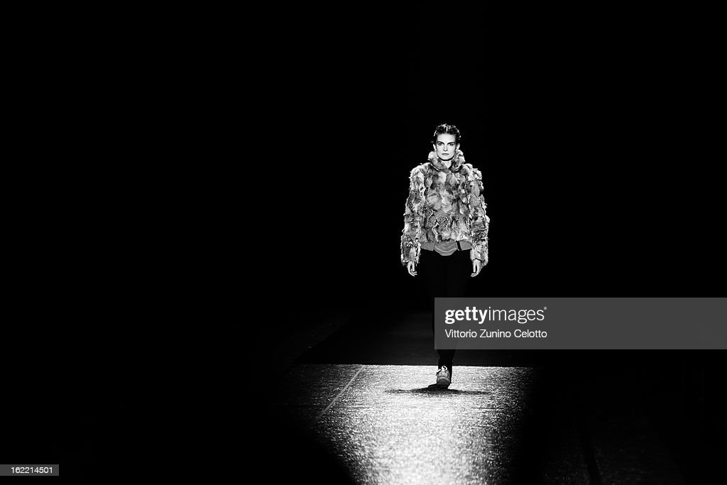 A model walks the runway at the Alberta Ferretti fashion show as part of Milan Fashion Week Womenswear Fall/Winter 2013/14 on February 20, 2013 in Milan, Italy.
