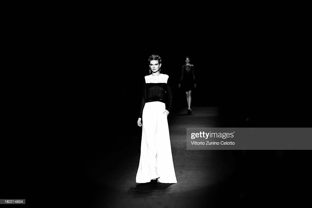 A model walks the runway at the Alberta Ferretti fashion show as part of Milan Fashion Week Womenswear Fall/Winter 2013/14 on February 20, 2013 in Milan, Italy.
