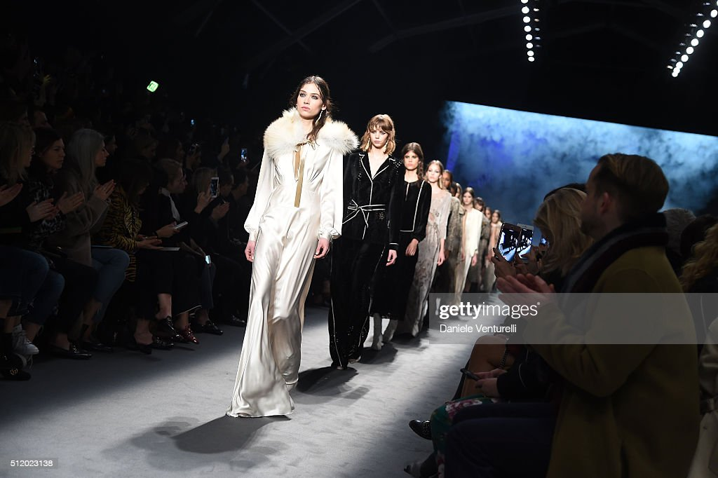 A model walks the runway at the Alberta Ferretti show during Milan Fashion Week Fall/Winter 2016/17 on February 24 2016 in Milan Italy