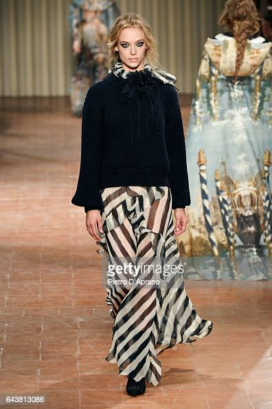 A model walks the runway at the Alberta Ferretti show during Milan Fashion Week Fall/Winter 2017/18 on February 22 2017 in Milan Italy