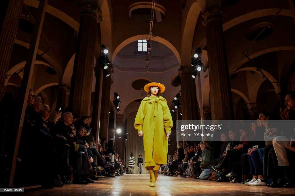 A model walks the runway at the Alberta Ferretti show during Milan Fashion Week Fall/Winter 2017/18 on February 22, 2017 in Milan, Italy.