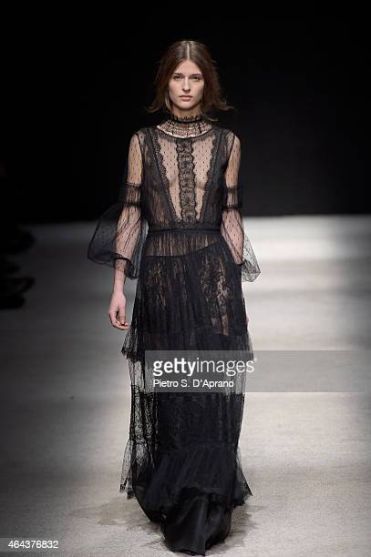 A model walks the runway at the Alberta Ferretti show during the Milan Fashion Week Autumn/Winter 2015 on February 25 2015 in Milan Italy
