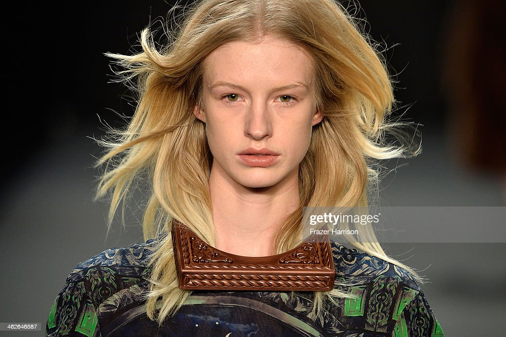 A model (necklace detail) walks the runway at the Alena Akhmadullina - presented by Mercedes-Benz and ELLE Backstage show during Mercedes-Benz Fashion Week Autumn/Winter 2014/15 at Brandenburg Gate on January 14, 2014 in Berlin, Germany.
