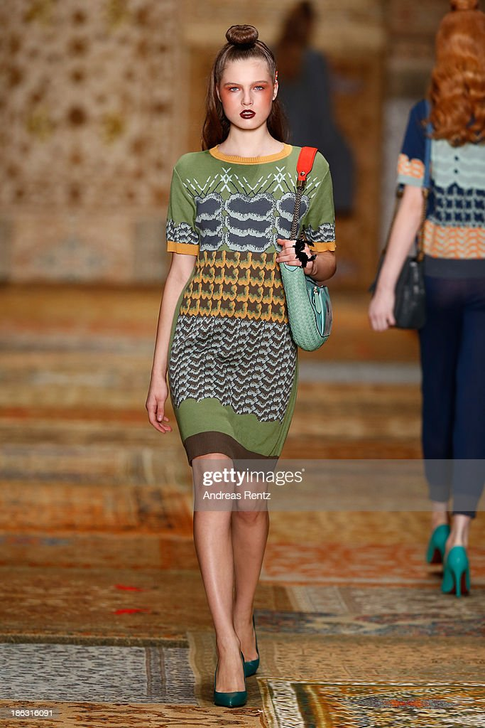 A model walks the runway at the Alena Akhmadullina show during Mercedes-Benz Fashion Week Russia S/S 2014 on October 30, 2013 in Moscow, Russia.