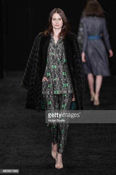 A model walks the runway at the Alena Akhmadullina show on day 1 of MercedesBenz Fashion Week Moscow AW14 on March 27 2014 in Moscow Russia