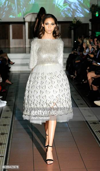 A model walks the runway at the Alex Vinash runway show during New York Fashion Week September 2016 at The Church of the Holy Apostles on September...