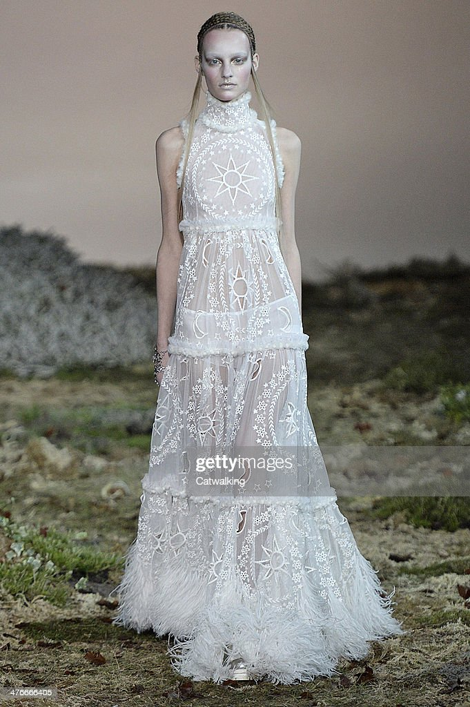 A model walks the runway at the Alexander McQueen Autumn Winter 2014 fashion show during Paris Fashion Week on March 4, 2014 in Paris, France.