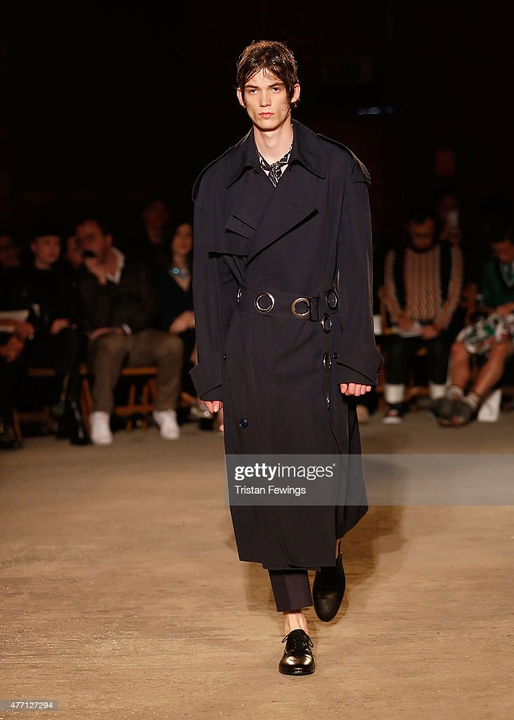 A model walks the runway at the Alexander McQueen show during The London Collections Men SS16 at The Arches on June 14, 2015 in London, England.