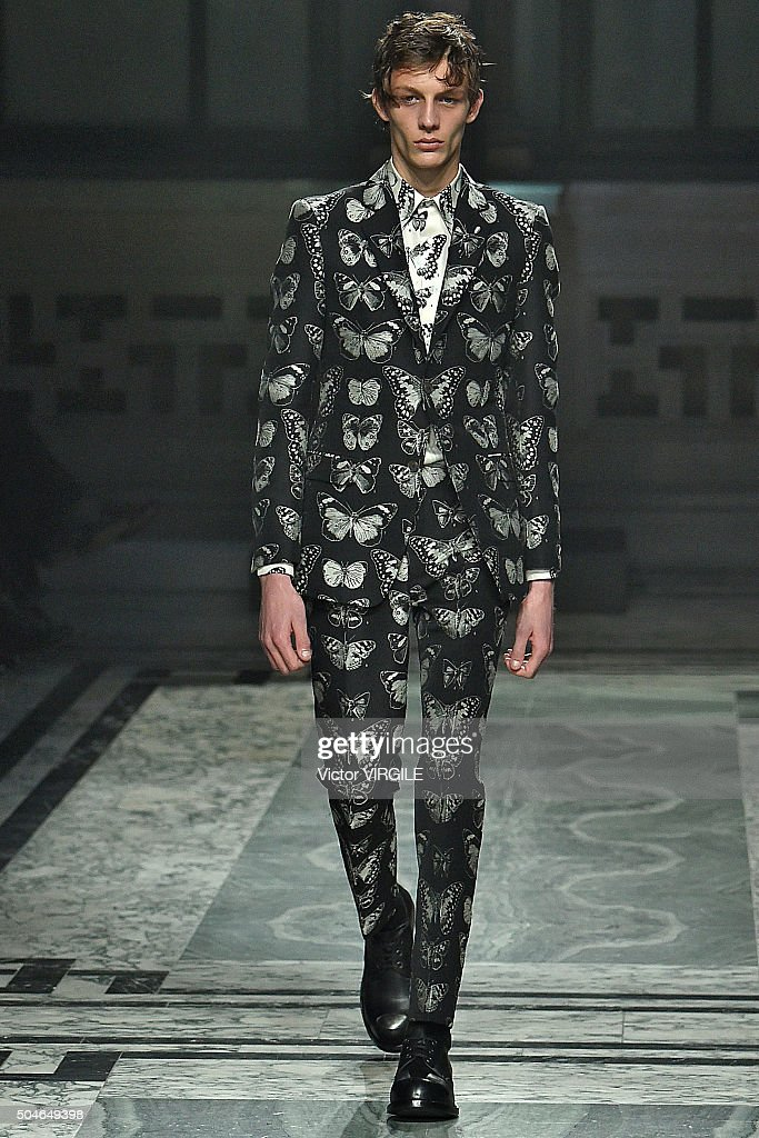 A model walks the runway at the Alexander McQueen show during The London Collections Men AW16 at The Foreign and Commwealth Office on January 10 2016...