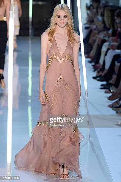 A model walks the runway at the Alexander Vaulthier Autumn Winter 2015 fashion show during Paris Haute Couture Fashion Week on July 7 2015 in Paris...