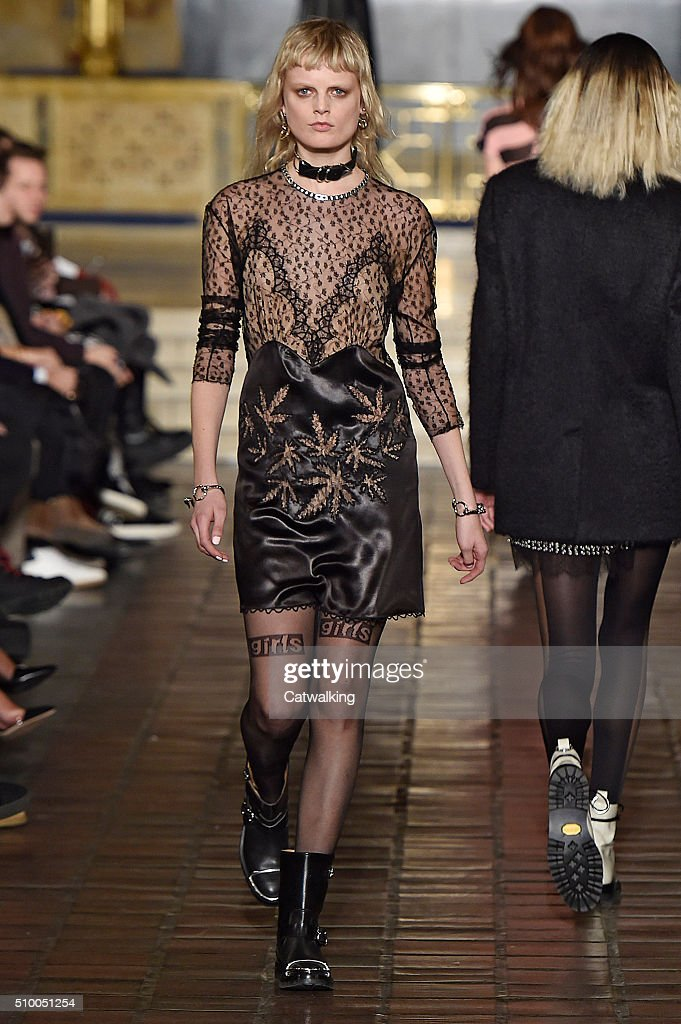 A model walks the runway at the Alexander Wang Autumn Winter 2016 fashion show during New York Fashion Week on February 13, 2016 in New York, United States.