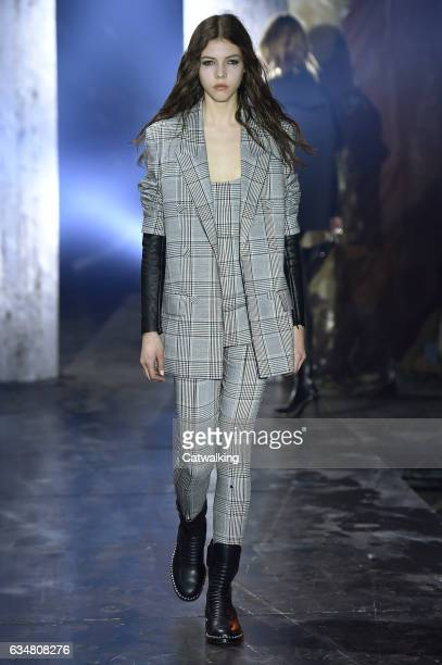 A model walks the runway at the Alexander Wang Autumn Winter 2017 fashion show during New York Fashion Week on February 11 2017 in New York United...