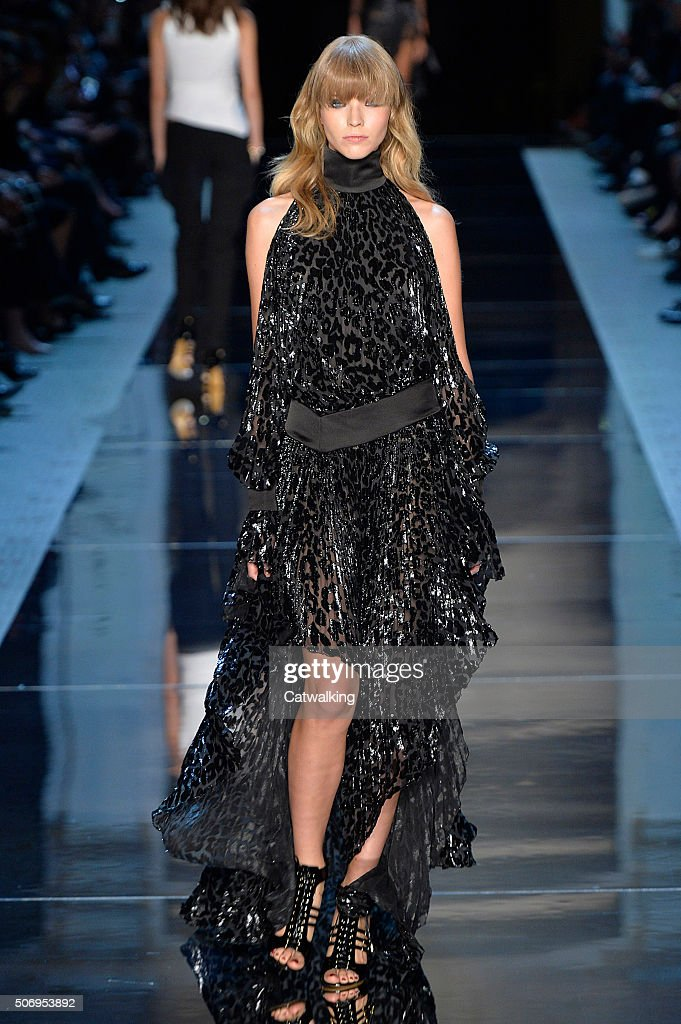 A model walks the runway at the Alexandre Vauthier Spring Summer 2016 fashion show during Paris Haute Couture Fashion Week on January 26 2016 in...