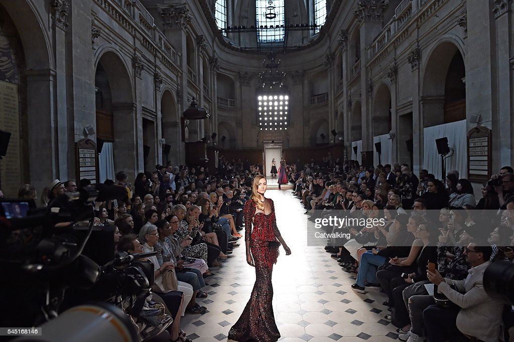 A model walks the runway at the Alexis Mabille Autumn Winter 2016 fashion show during Paris Haute Couture Fashion Week on July 5 2016 in Paris France