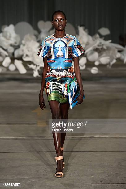 A model walks the runway at the Alice McCall show during MercedesBenz Fashion Week Australia 2014 at Bay 25 Carriageworks on April 10 2014 in Sydney...