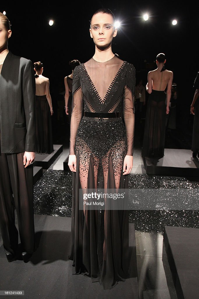 A model walks the runway at the Alon Livne Fall 2013 fashion show during Mercedes-Benz Fashion Week at The Box at Lincoln Center on February 9, 2013 in New York City.