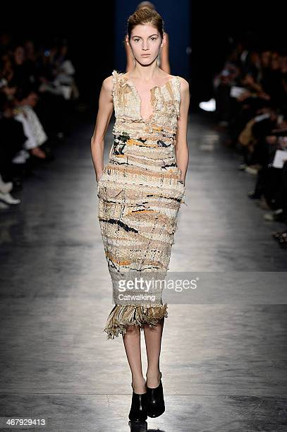 A model walks the runway at the Altuzarra Autumn Winter 2014 fashion show during New York Fashion Week on February 8 2014 in New York United States