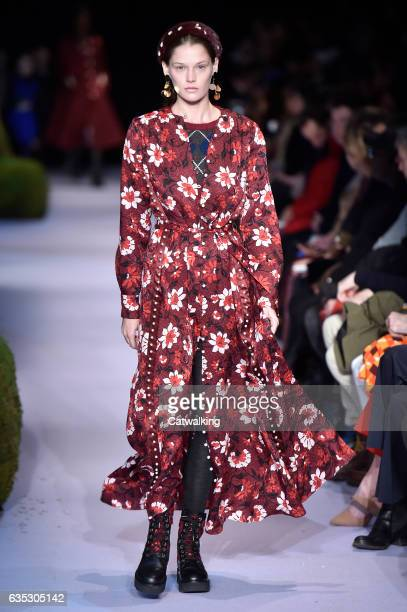 A model walks the runway at the Altuzarra Autumn Winter 2017 fashion show during New York Fashion Week on February 12 2017 in New York United States