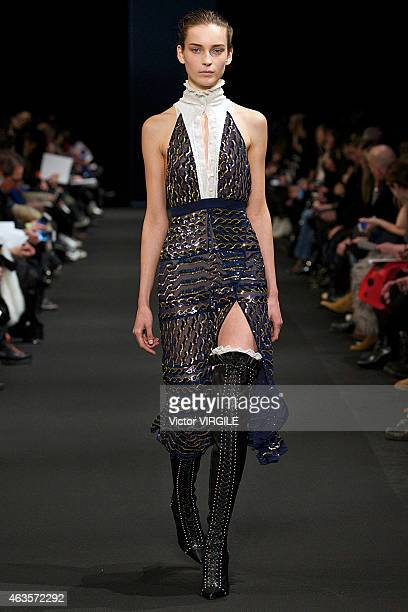 A model walks the runway at the Altuzarra fashion show during MercedesBenz Fashion Week Fall 2015 at Spring Studios on February 14 2015 in New York...